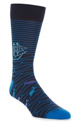 Lorenzo Uomo Pirate Ship Socks Navy