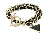Guess Woven Chain Wrap Around Toggle Convertible Bracelet Gold Jet Bracelet Black