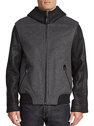 Mackage Leather Accented Sheepskin Wool Blend Jacket Charcoal