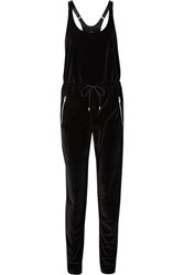 Heroine Sport Off Duty Stretch Velvet Jumpsuit Black
