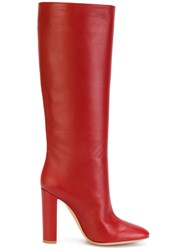 Gianvito Rossi Knee High Boots Leather Red