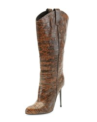 Tom Ford Leather Mid Calf Western Cut Stiletto Boot Brown Gunmetal Brown Grey