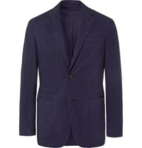 Ermenegildo Zegna Navy Slim Fit Unstructured Garment Dyed Stretch Cotton Blazer Navy