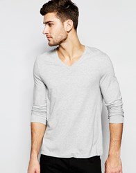 Asos Long Sleeve T Shirt With V Neck In Grey Grey