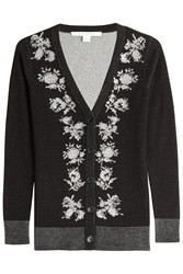 Diane Von Furstenberg Embellished Cardigan With Merino Wool Black