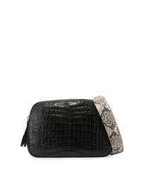 Nancy Gonzalez Double Zip Crocodile And Python Messenger Bag Gray Dark