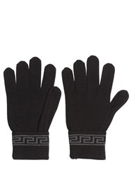 Versace Greek Motif Wool And Silk Knit Gloves