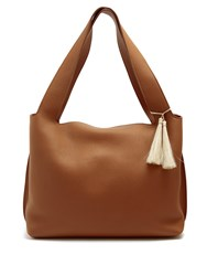 The Row Duplex Grained Leather Shoulder Bag Dark Brown