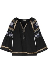 Suno Pleated Embroidered Cotton Broadcloth Blouse Black