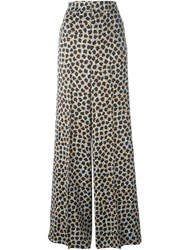 Etro Wide Floral Print Trousers Black