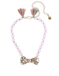 Betsey Johnson Multicolor Stone Bow Frontal Beaded Necklace