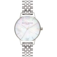 Olivia Burton 'S Mother Of Pearl Dial Bracelet Strap Watch Silver Neutral Ob16mop02
