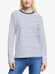 Stripe Long Sleeve Stripe T Shirt Washed Blue