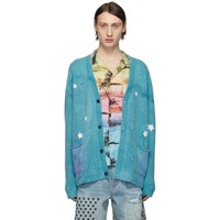 Amiri Blue Ombre Star Patchwork Cardigan