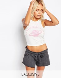 Kiss And Tell Crop Tank With I Need More Space Print White