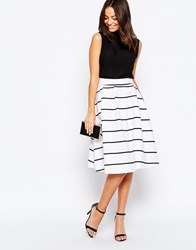Liquorish Striped Midi Skater Skirt White