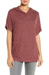 Gibson Women's Short Sleeve Poncho Top Red Cordovan