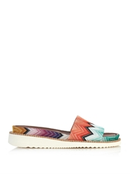 Missoni Zigzag Striped Crochet Knit Slides
