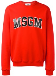Msgm Logo Print Sweatshirt Red