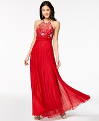 B. Darlin Say Yes To The Prom Juniors' Embellished Pleated Skirt Gown A Macy's Exclusive Style Red