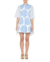 Stella Mccartney Striped Polka Dot Shirtdress Blue White Blue White