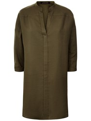Jaeger Khaki Linen Oversized Tunic Top