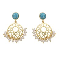 Carousel Jewels Pearl Cluster And Turquoise Earrings Gold