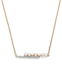 Mateo 14K Yellow Gold Cultured Freshwater Pearl And Diamond Bypass Bar Necklace 15
