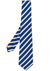Kiton Striped Pattern Tie Blue