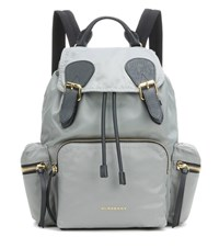Burberry The Medium Leather Trimmed Backpack Grey