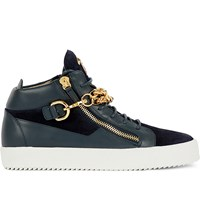 Giuseppe Zanotti Mid Top Chain Leather And Velvet Trainers Navy