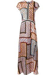 Msgm Tribal Print Maxi Dress Multicolour