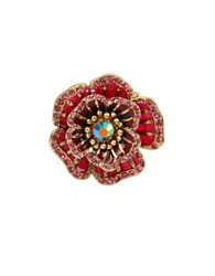 Betsey Johnson Garden Of Excess Goldtone Rose Ring