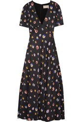 Christopher Kane Printed Crepe De Chine Maxi Dress Black