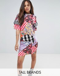 Jaded London Tall Oversized Tshirt Dress With Ruffle Sleeve Detail In Mix Print Multi