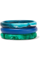 Dinosaur Designs Wishbone Set Of Three Resin Bracelets Blue
