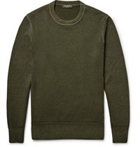 Berluti Garment Dyed Cashmere Sweater Army Green