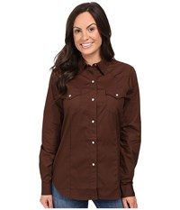 Roper 0466 Solid Poplin Chocolate Brown Women's Clothing