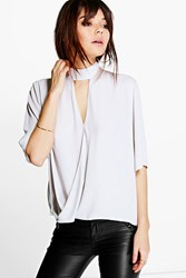 Boohoo High Cut Out Choker Neck Wrap Front Blouse Silver