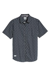7 Diamonds 'Crossfire' Floral Print Short Sleeve Woven Shirt Nav