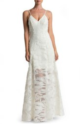 Dress The Population Women's 'Florence' Woven Fit And Flare Gown Ivory