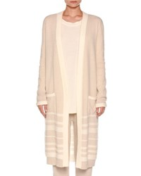Agnona Long Striped Boucle Cardigan Oatmeal White Oatmeal White Str