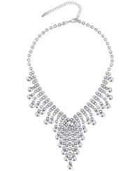 Say Yes To The Prom Silver Tone Rhinestone Fringe Bib Necklace A Macy's Exclusive Style