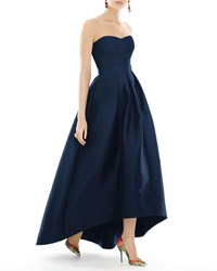 Alfred Sung Strapless Sweetheart High Low Sateen Gown Midnight