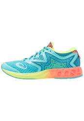 Asics Noosa Ff Competition Running Shoes Aquarium Flash Coral Safety Yellow Light Blue
