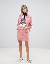Maison Scotch Skirt With Workwear Details And Contrast Stitching Maloja Pink