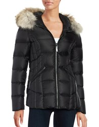 Dawn Levy Coyote Fur Trim Puffer Jacket Black