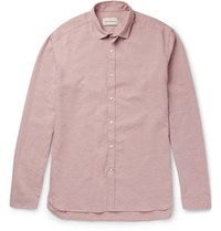 Oliver Spencer Clerkenwell Tab Collar Melange Cotton And Linen Blend Shirt Pink