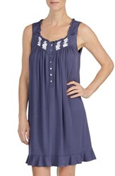 Eileen West Embroidered Chemise Solid Dark Silver Grey