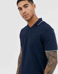 Selected Homme Pique Revere Collar Polo Shirt With Tipped Collar In Navy